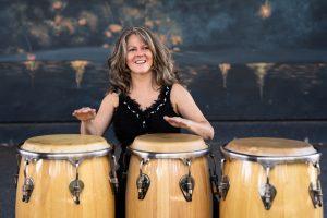 Linette Tobin 3 drums smile